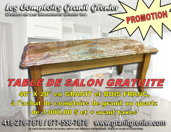 Promotion table 40x20 GRATUITE
